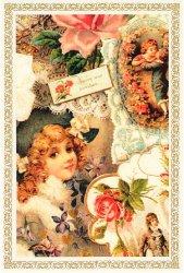 ヴィクトリアン ポストカード 少女と天使のコラージュ エンジェル