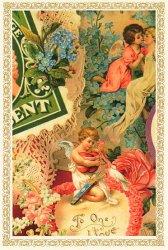 ヴィクトリアン ポストカード ハートを抱えたキューピッドと「愛する人へ」のメッセージ 切手 エンジェル