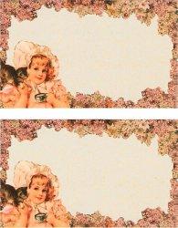 ヴィクトリアン ミニメッセージカード 2枚1セット ネコと少女 猫