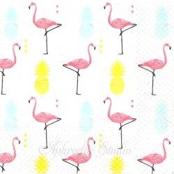 Flamingo パイナップルとフラミンゴ 1枚 バラ売り 33cm ペーパーナプキン TETE a TETE