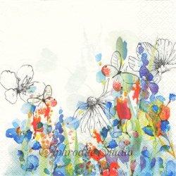 Watercolour Painted Meadow 水彩の花 1枚 バラ売り 33cm ペーパーナプキン デコパージュ Maki