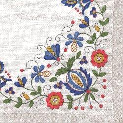 Kashbian Folk-2 ブルー 東欧の伝統の花刺しゅう 1枚 バラ売り 33cm ペーパーナプキン デコパージュ Maki
