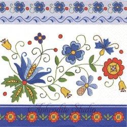 Kashbian Folk-8 ブルー ボーダー 東欧の伝統の花刺しゅう 1枚 バラ売り 33cm ペーパーナプキン Maki