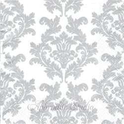 Wallpaper ホワイト&シルバー ダマスク模様 アラベスク模様 1枚 バラ売り 33cm ペーパーナプキン デコパージュ Maki
