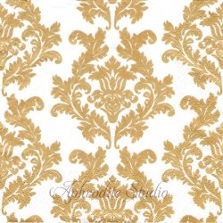 Wallpaper ホワイト&ゴールド ダマスク模様 アラベスク模様 1枚 バラ売り 33cm ペーパーナプキン デコパージュ Maki