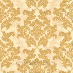 Wallpaper クリーム&ゴールド ダマスク模様 アラベスク模様 1枚 バラ売り 33cm ペーパーナプキン デコパージュ Maki