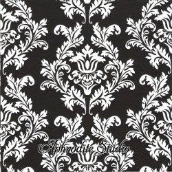 Wallpaper ブラック&ホワイト ダマスク模様 アラベスク模様 1枚 バラ売り 33cm ペーパーナプキン デコパージュ Maki
