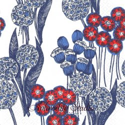 北欧 ナンソ ぽんぽん花 ブルー 1枚 バラ売り 33cm ペーパーナプキン nanso Suomen Kerta
