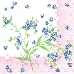 【お買い得品】EVELYN ピンク わすれな草 1枚 バラ売り 33cm ペーパーナプキン デコパージュ用 Mank