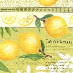 【お買い得品】JONA イエロー レモン シトラス 1枚 バラ売り 33cm ペーパーナプキン デコパージュ用 Mank