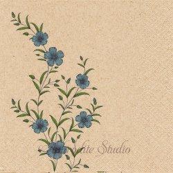 Flax ブルー 青い花 1枚 バラ売り 33cm ペーパーナプキン デコパージュ Natural
