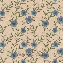 Flax pattern ブルー 小さな青い花 1枚 バラ売り 33cm ペーパーナプキン デコパージュ Natural