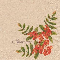 Rowan berry 紅い実 クリスマス 1枚 バラ売り 33cm ペーパーナプキン デコパージュ Natural