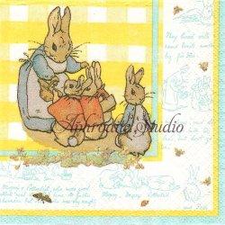 25cm レア柄 ピーターラビット イエロー ギンガム Beatrix Potter キャラクター 1枚 バラ売り ペーパーナプキン 紙ナプキン デコパージュ Peter Rabbit