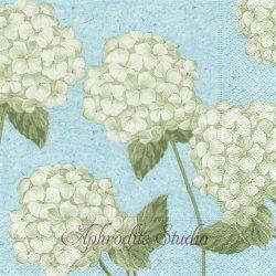 廃盤 Hortensia on blue ライトブルー 紫陽花 A Lewis /Pure Design1枚 バラ売り 33cm ペーパーナプキン デコパージュ用 Paper+Design