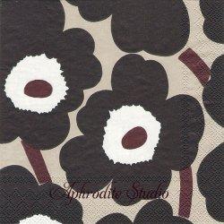 25cm 1パック20枚 北欧 マリメッコ UNIKKO ブルーリネン ウニッコ 小さなケシの花 ペーパーナプキン 紙ナプキン デコパージュ marimekko Ihr