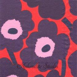25cm 1パック20枚 北欧 マリメッコ UNIKKO レッドブルー ウニッコ 小さなケシの花 ペーパーナプキン 紙ナプキン デコパージュ marimekko Ihr