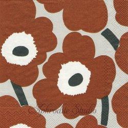 25cm 1パック20枚 北欧 マリメッコ UNIKKO ブラウングレー ウニッコ 小さなケシの花 ペーパーナプキン 紙ナプキン デコパージュ marimekko Ihr
