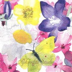 北欧 ペンティック KESANIITTY 水彩の花と蝶 バタフライ 1枚 バラ売り 33cm ペーパーナプキン PENTIK
