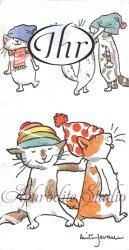 1パック10枚入 アニタ・ジェラーム CATS WITH HATS 帽子の猫 ネコ キャット Anita Jeram 21.5cm角 ポケットペーパーハンカチ 紙ハンカチ Ihr