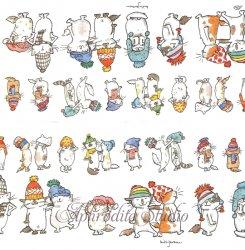 21cm角 アニタ・ジェラーム CATS WITH HATS 帽子の猫 ネコ キャット Anita Jeram 1枚 ばら売り ポケットペーパーハンカチ 紙ハンカチ Ihr