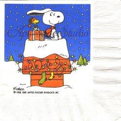 25cm 廃盤 貴重品 ヴィンテージ スヌーピー ドッグハウスの飾り付け クリスマス Peanuts キャラクター 1枚 バラ売り ペーパーナプキン デコパージュ SNOOPY