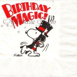 25cm 廃盤 貴重品 ヴィンテージ スヌーピー マジックショー Peanuts キャラクター 1枚 バラ売り ペーパーナプキン デコパージュ SNOOPY