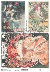 商用販売可能 アルフォンス・ミュシャ ワインのポスター デコパージュシート 1枚 ソフトペーパー ITD Collection