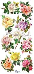 パステルカラー薔薇のステッカー 1シート ヴィクトリアン シール ラベル ビクトリアン Victorian ラッピング