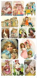切手風 犬と少女のステッカー 1シート ヴィクトリアン シール ラベル ビクトリアン Victorian ラッピング