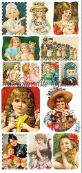 切手風 猫と少女のステッカー エンジェル 1シート ヴィクトリアン シール ラベル ビクトリアン Victorian ラッピング