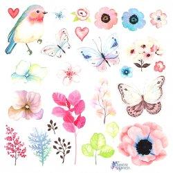 【2018年新柄入荷】パステルカラー 小鳥と春のお花のステッカー 1シート ヴィクトリアン シール ラベル ビクトリアン Victorian ラッピング