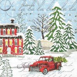 25cm DECK THE HALLS クリスマスの1シーン 車 1枚 バラ売り ペーパーナプキン デコパージュ用 MICHEL DESIGN WORKS