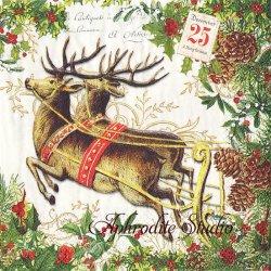 CHRISTMAS JOY 楽しいクリスマス ヴィクトリアン 1枚 バラ売り 33cm ペーパーナプキン デコパージュ用 MICHEL DESIGN WORKS