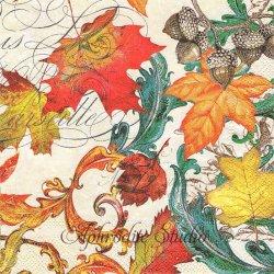 FALL SYMPHONY 秋の協奏曲 葉っぱ リーフ 紅葉 1枚 バラ売り 33cm ペーパーナプキン デコパージュ用 MICHEL DESIGN WORKS