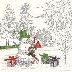 SEASON'S GREETINGS クリスマス スノーマン 雪だるま 1枚 バラ売り 33cm ペーパーナプキン デコパージュ用 MICHEL DESIGN WORKS