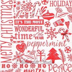 HOHOHO クリスマスの文字 1枚 バラ売り 33cm ペーパーナプキン デコパージュ用 MICHEL DESIGN WORKS