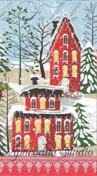 33x40cm DECK THE HALLS クリスマスの風景 お家 1枚 バラ売り ペーパーナプキン デコパージュ MICHEL DESIGN WORKS
