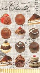33x40cm 廃番 AU CHOCOLAT プチサイズのチョコレート お菓子 スイーツ 1枚 バラ売り ペーパーナプキン デコパージュ MICHEL DESIGN WORKS