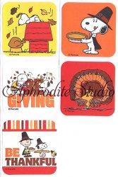 スヌーピー ステッカー サンクスギビングデー 5種1セット シール キャラクター ラベル ラッピング SNOOPY Peanuts