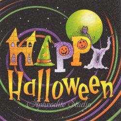 Happy Halloween ハッピー・ハロウィン 1枚 バラ売り 33cm ペーパーナプキン デコパージュ用 Paper+Design