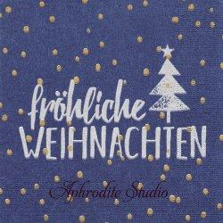 Welhnachten ダークブルー 雪ともみの木 文字 Ute Krause 1枚 バラ売り 33cm ペーパーナプキン デコパージュ用 紙ナプキン ppd