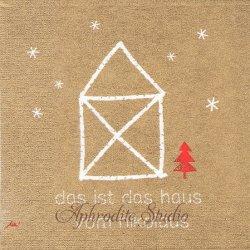 Santa's House リネンベージュ 家 文字 Ute Krause 1枚 バラ売り 33cm ペーパーナプキン デコパージュ用 紙ナプキン ppd