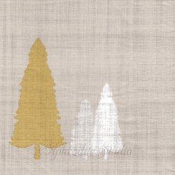 Trees on linen リネンベージュ もみの木 Virginia Romo 1枚 バラ売り 33cm ペーパーナプキン デコパージュ用 紙ナプキン ppd