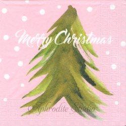 Trees & Snow ピンク 雪ともみの木 Patternplan/Anette Carlsson Moberg 1枚 バラ売り 33cm ペーパーナプキン デコパージュ用 紙ナプキン ppd