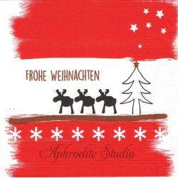 Holiday Landscape レッド クリスマスのトナカイとツリー wiebke Wichmann 1枚 バラ売り 33cm ペーパーナプキン デコパージュ用 紙ナプキン ppd