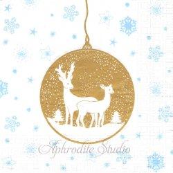 Deers Ornaments ホワイトゴールド クリスマスのトナカイオーナメントwiebke Wichmann 1枚 バラ売り 33cm ペーパーナプキン デコパージュ用 紙ナプキン ppd