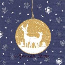 Deers Ornaments ネイビーブルーゴールド クリスマスのトナカイオーナメントwiebke Wichmann 1枚 バラ売り 33cm ペーパーナプキン デコパージュ用 紙ナプキン ppd