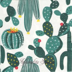 オーサムストア Cactus カクタス サボテン グリーン 1枚 バラ売り 33cm ペーパーナプキン デコパージュ用 紙ナプキン  AWESOME STORE