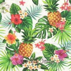 オーサムストア Tropical トロピカルフルーツ ハイビスカスとパイナップル 1枚 バラ売り 33cm ペーパーナプキン デコパージュ用 紙ナプキン  AWESOME STORE
